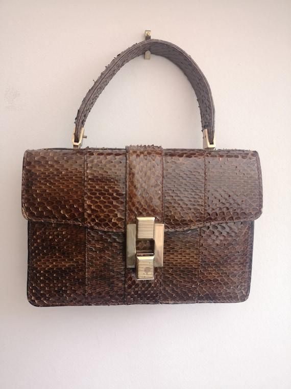 1940's Vintage genuine snakeskin handbag, vintage… - image 1