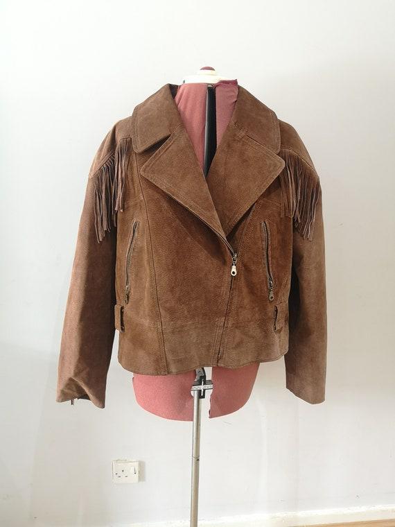 Mens vintage brown suede fringed jacket, western l