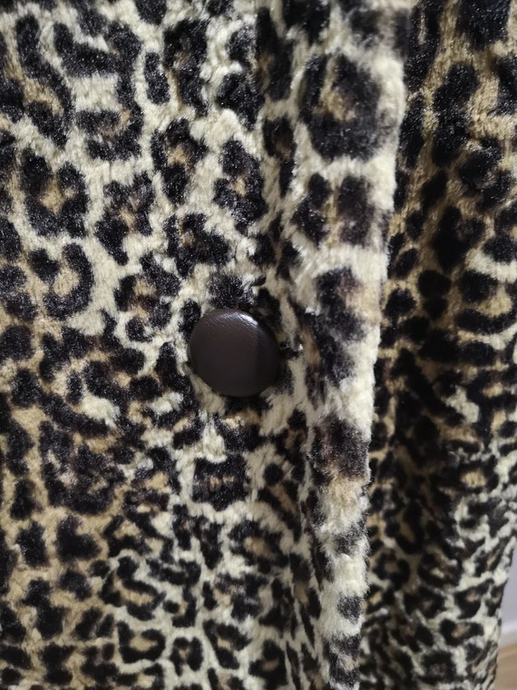 1960's leopard print coat, 60's faux fur coat, vi… - image 4