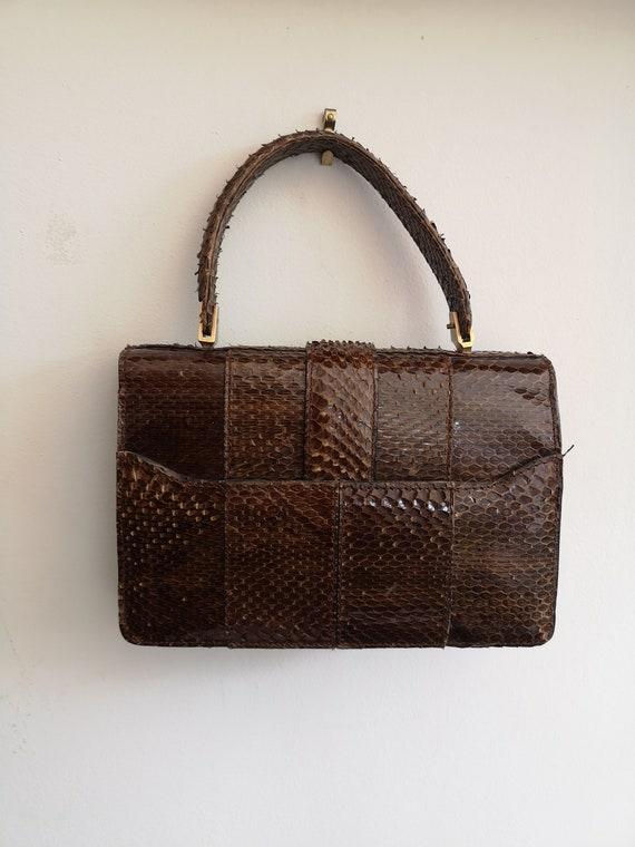 1940's Vintage genuine snakeskin handbag, vintage… - image 6