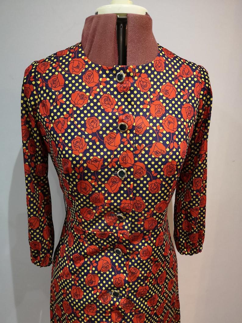rose print dress 60/'s floral shirt dress UK 10 long sleeved printed dress A vintage 1960/'s spotty shirt dress
