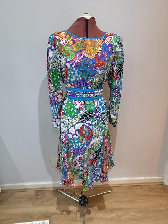 DIANE FREIS vintage 80's dress printed dress, brig