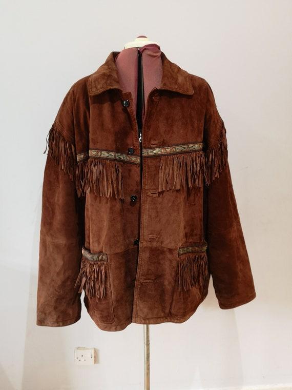Vintage brown suede fringed jacket, western leathe