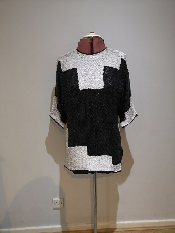 Vintage 1980's FRANK USHER silk sequined top, silk