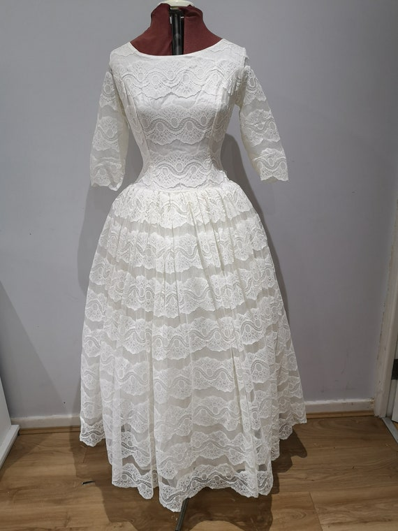 Vintage 1950's lace wedding dress, 50's lace prom