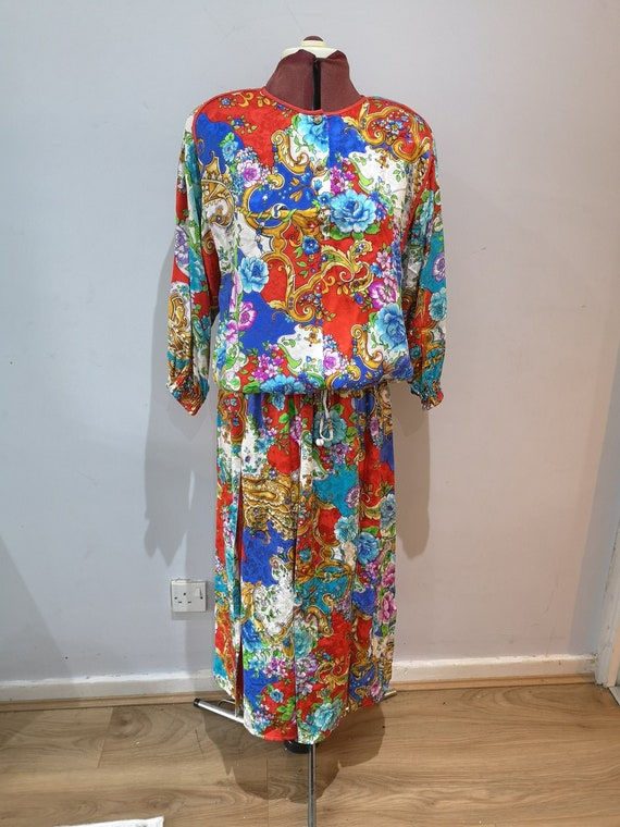 DIANE FREIS 2 piece silk set, 1980's silk skirt an