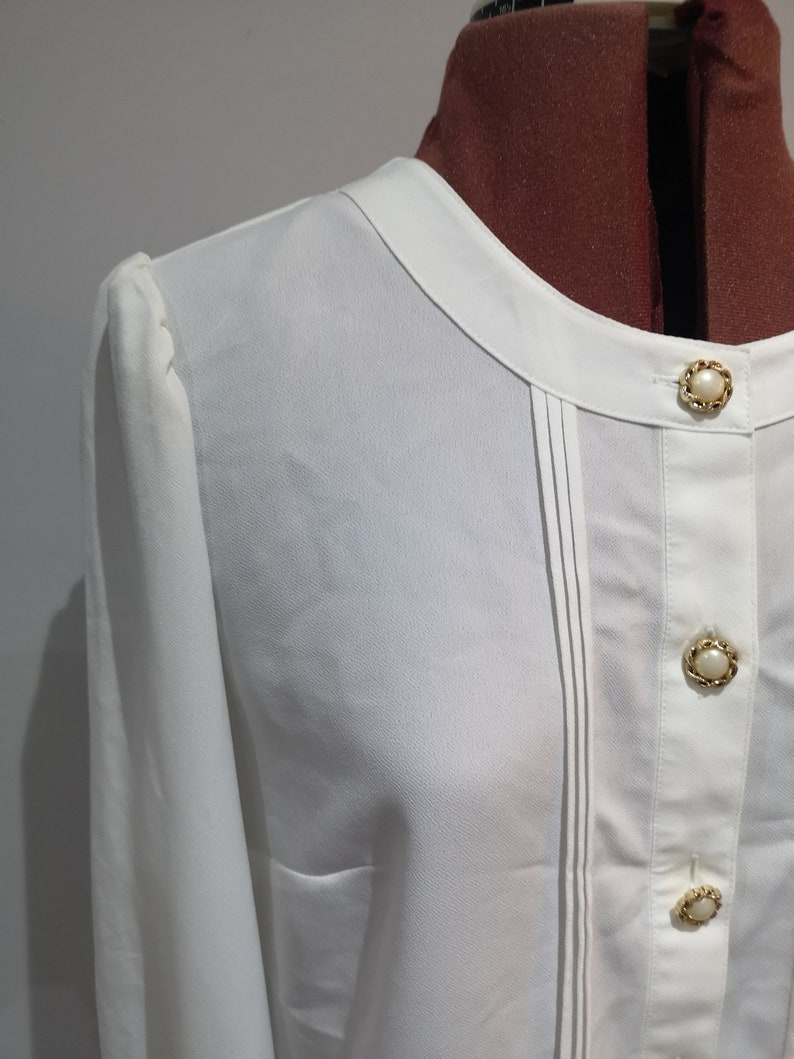 90/'s womens collarless white shirt with pearl effect and gold buttons 1990/'s vintage ivory blouse elasticated cuffs 34 sleeves UK 12