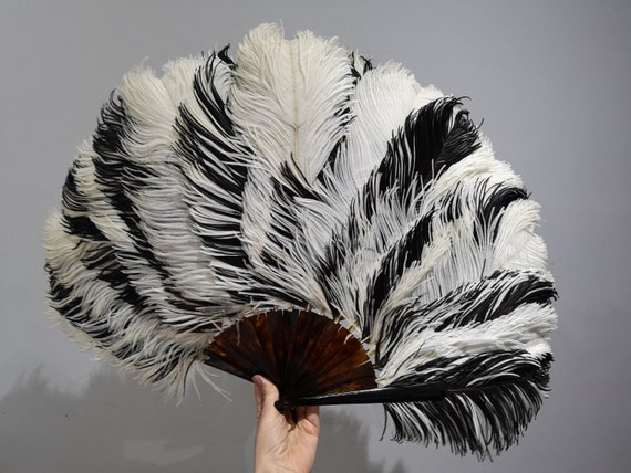 A large Edwardian ostrich feather and tortoiseshel