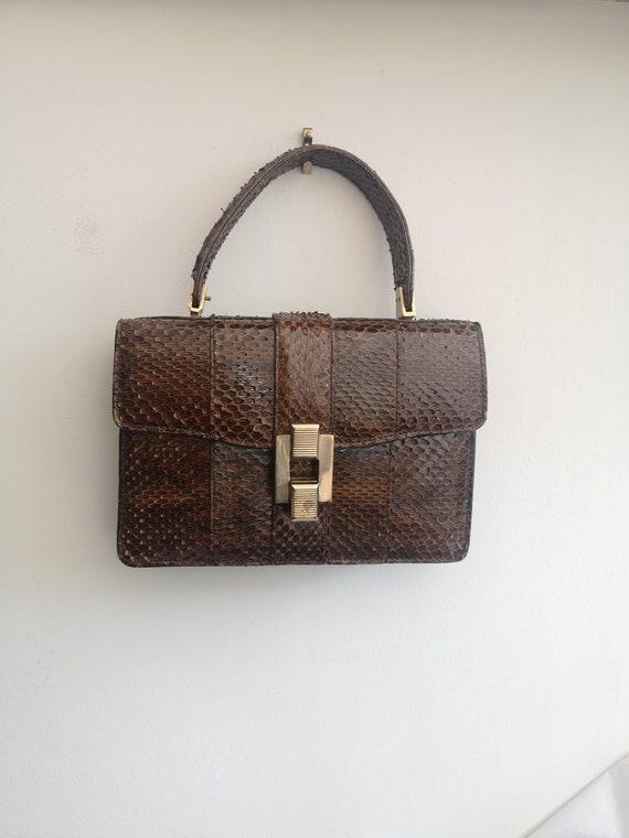 1940's Vintage genuine snakeskin handbag, vintage… - image 3