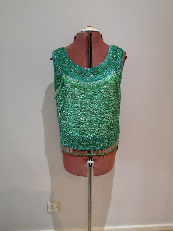 Vintage 1960's green beaded and sequined evening t