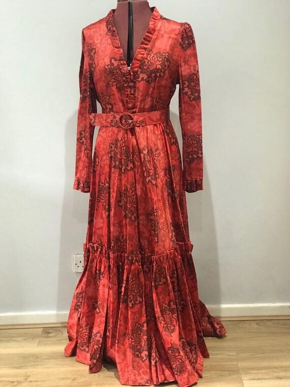 FRANK USHER. 60's 70's red vintage maxi dress, eve