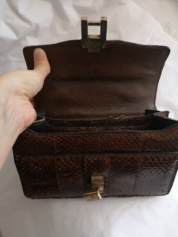 1940's Vintage genuine snakeskin handbag, vintage… - image 10