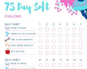 75 Soft/ Easy Challenge | Habit Tracker | Digital Download | Printable PDF