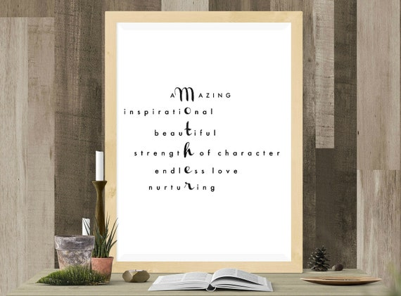 8x10 Print UNFRAMED Present for Mom from Son or Daughter Inspirational Quote Wall Decor from Child Happy Birthday Mom Wall Art Gift for Mother Mothers Day Poem for Her