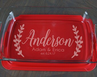 Personalized Casserole Dish Pyrex Baking Dish Engraved Name Christmas Present Mother's Day Wedding Gift Bridal Shower Glass Couple A 50