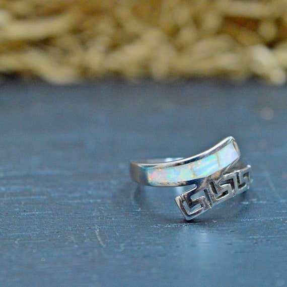 Sterling Silver Ring White Opal Stone Greek Jewelry R79