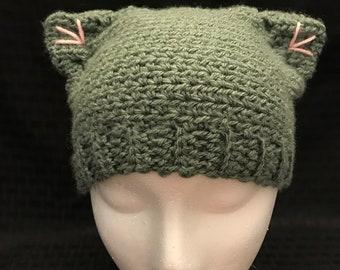 Crochet Kitten Hat / toddler hat / crochet hat / cat hat / kitten hat / grey kitten hat / grey crochet hat
