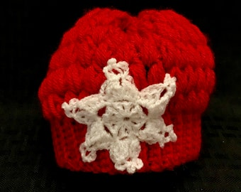 Crochet Baby Hat with Snowflake / baby hat / newborn hat / baby shower / holiday gift / winter hat / baby winter hat