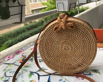 Natural Round Straw Bag, Circle Straw Handbag, Straw Crossbody Bag, Woven Rattan Bag, Summer Shoulder Bag, Beach Bag