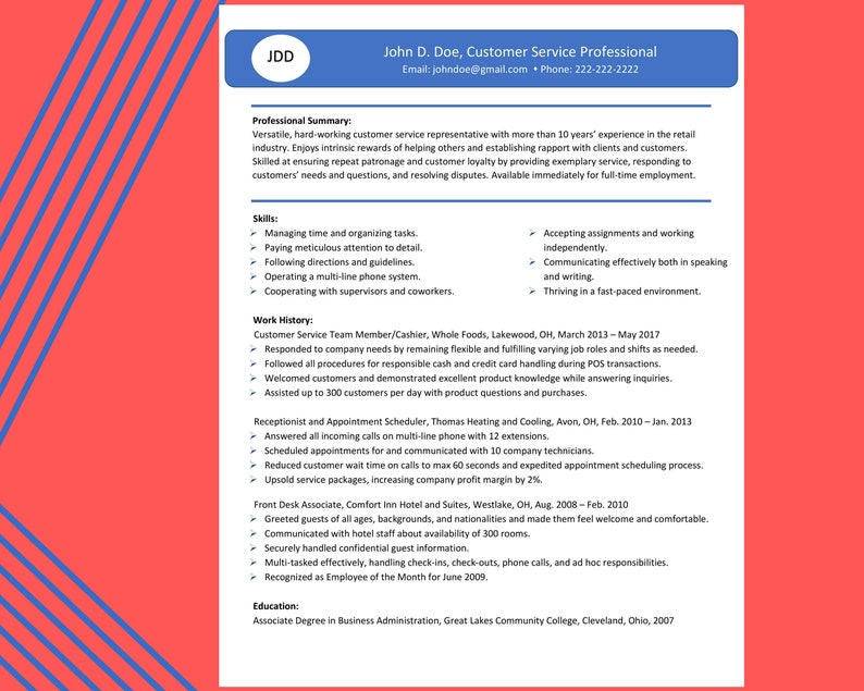 Complete Resume Success Kit for a Key-Word Optimized Resume- Microsoft Word  Resume Template- Blue It Up Design- Instant Download