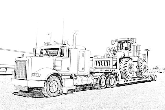 big rig truck kleurplaat pagina poster etsy