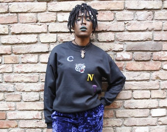 C*NT or CANT  Colourful Lion Leopard  Embroidered Jumper Sweater- Non Binary Feminist Fashion, Organic Unisex Hoodie, Profanity