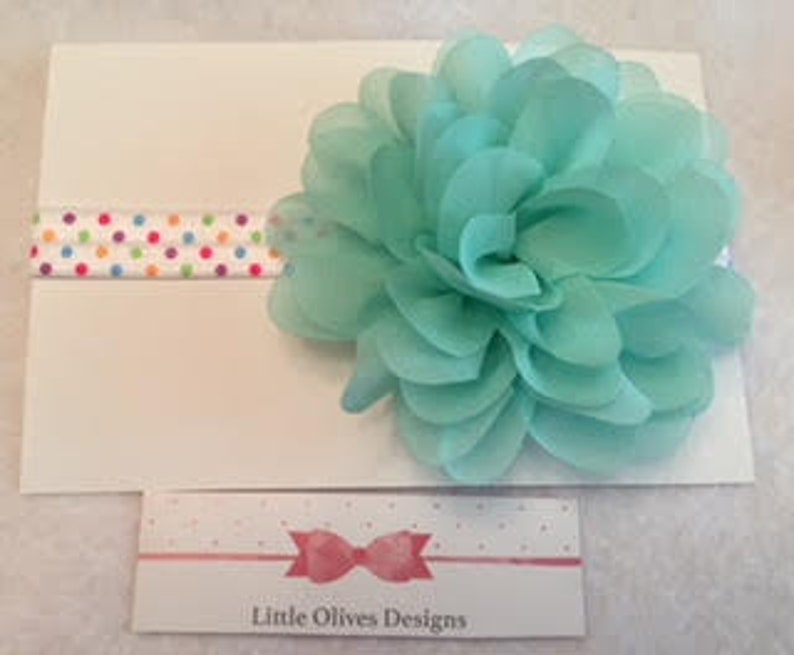 aqua chiffon flower with rainbow dots headband