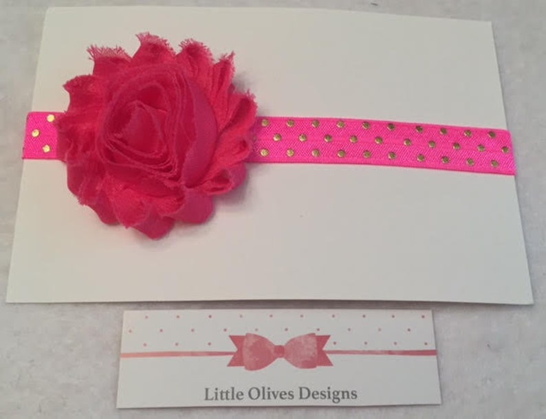 hot pink flower with gold dots headband