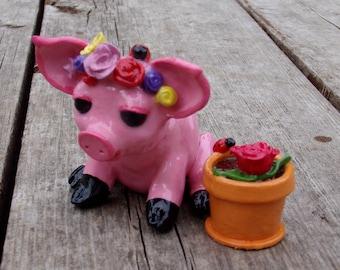OOAK Flower Farm Pig