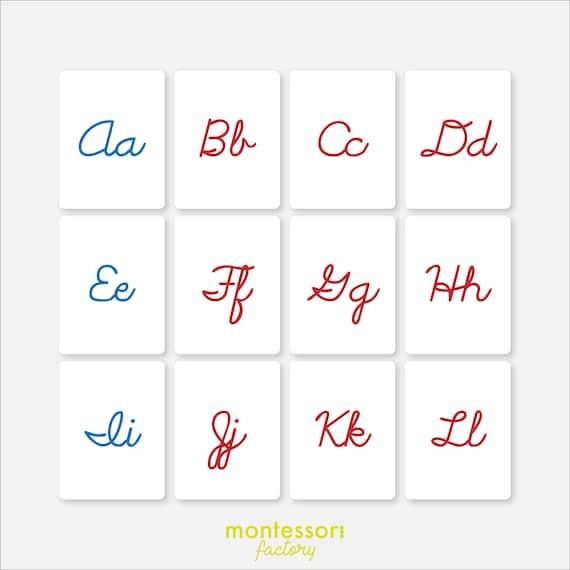 Flash Cards CURSIVE ALPHABET Montessori Cards Montessori Printable Educational Material Editable PDF