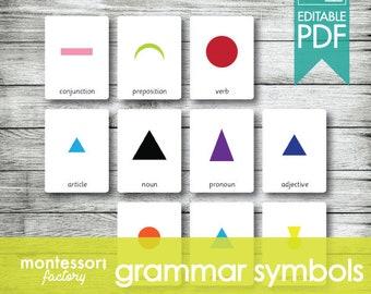 GRAMMAR SYMBOLS Montessori Cards, Flash Cards, Three Part Cards, Nomenclature Cards, Educational Material, Printable, Editable PDF