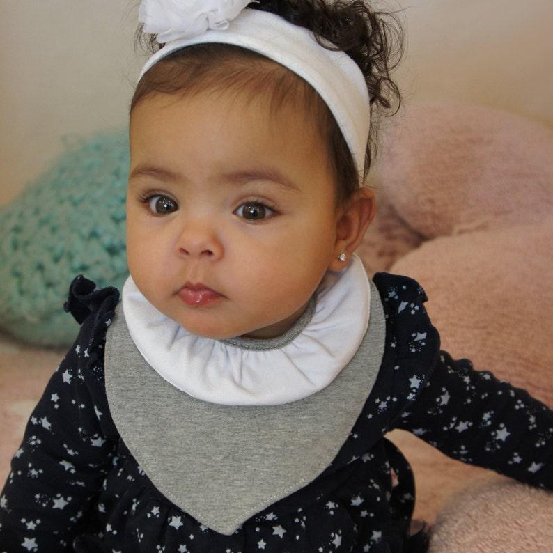 f8c628e1c93e4 Baby Fashion gray Bib La Coquette, Baby Accessories, Baby Girl, Cotton,  Baby Shower or Birth Gift