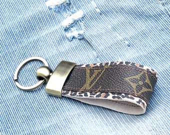 4f4e29b5c08c Authentic Canvas and Cheetah leather transformed into a Custom Keychain