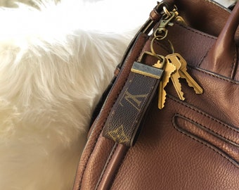 f9a54a4ca Upcycled- Repurposed Bag Charm Keychain Key Fob Handmade from Authentic LV  Vintage Classic Monogram Canvas Logo Pattern.