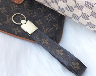 0616f87afd28 Louis Vuitton Upcycled Wrist Lanyard Wristlet Keychain Handmade from  Authentic Vintage LV Monogram Canvas and Real Leather FLOWER Pattern