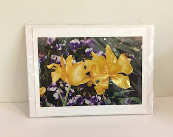Open Yellow Tulips with Purple Pansy Notecard