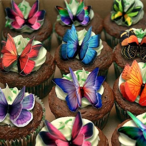 12 Precut Double Rose//Jaune Comestible Gaufre Papier Papillons Gâteau//Cupcake Toppers