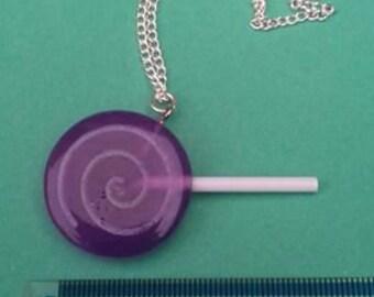 Purple resin lollipop necklace