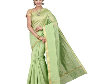 c43268fccf Beautiful Indian Light Green Cotton Silk Saree With Unstitched Running  Blouse For Women & Girl's Wedding Wear Designer Sari Golden Border