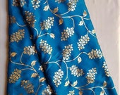 Traditional Blue Art Silk Designer Saree Floral Print Sari With Golden Plain Unstitched Blouse For Women Wear,Festive Wear,Party Wear