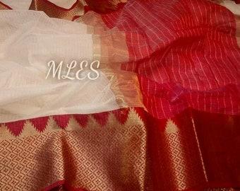 946f3ec159859 Beautiful Designer Multicolor Soft Banarsi Kota Silk Saree Pure Zari  Weaving Border Grand Pallu With Contrast Running Blouse For Women Wear