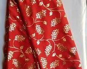Traditional Red Art Silk Designer Saree Floral Print Sari With Golden Plain Unstitched Blouse For Women Wear,Festive Wear,Party Wear