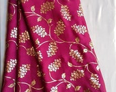 Traditional Pink Art Silk Designer Saree Floral Print Sari With Golden Plain Unstitched Blouse For Women Wear,Festive Wear,Party Wear
