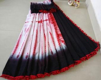 034885a7d6 Black & White Indian Pure Mulmul Cotton Batik Saree With Pompom Lace Work  For Women Festive Wear Designer New Sari With Unstitched Blouse