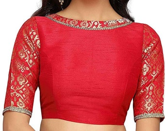 c3384921aa73b4 Red Brocade Art Silk Boat Neck Elbow Length Sleeves New Indian Designer  Readymade Blouse For Women Party Wear Saree Choli Top Tunic Sari