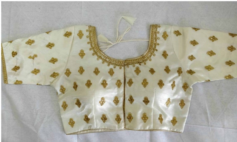 Indian White Satin Silk Embroidered /& Sequence Work Readymade Saree Blouse For Women Wear Wedding Wear Party Wear Festive Wear Sari Top