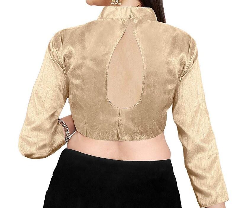 Beige Art Silk Full Sleeves Blouse For Women Wear Designer Blouse,Party Wear,Festive Wear,Casual Wear,Readymade Blouse,Top Tunic Sari Blouse