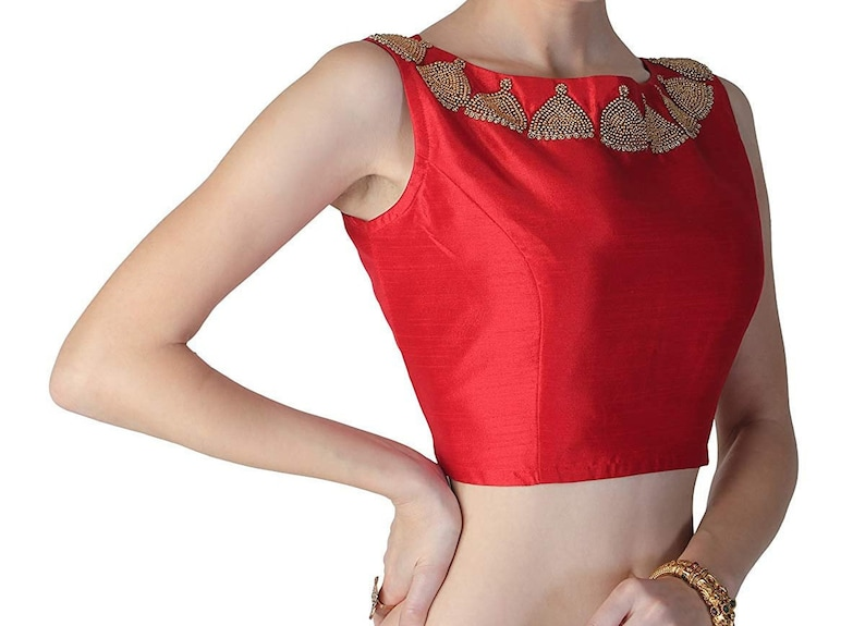 Red Raw Art Silk Jhumka Bead Embroidered Work Sleeveless New Indian Designer Readymade Blouse For Women Party Wear Choli Top Tunic Sari