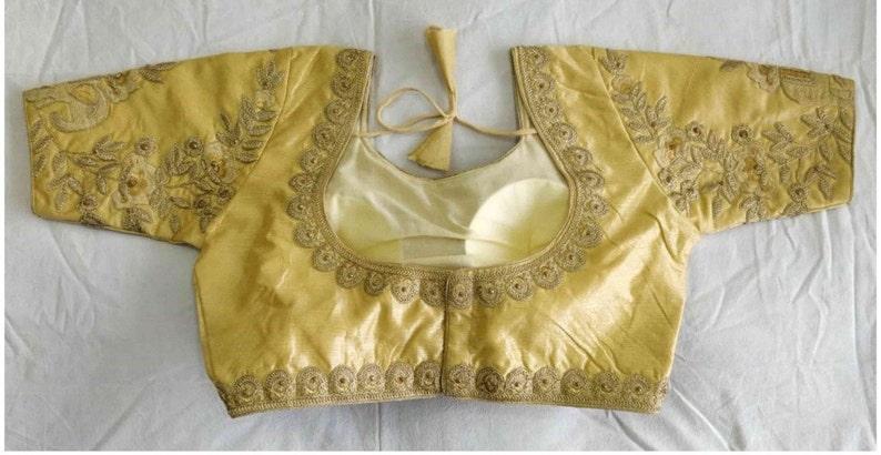 Beige Art Silk Readymade Blouse Choli Top Tunic SariBlouse For Women Wear,Party Wear,Wedding Wear,Festive Wear,Indian Designer Blouse