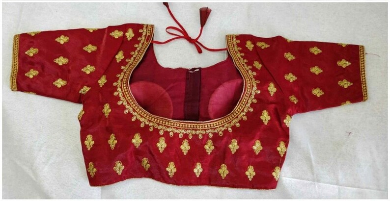 Indian Maroon Satin Silk Embroidered /& Sequence Work Readymade Saree Blouse For Women Wear Wedding Wear Party Wear Festive Wear Sari Top